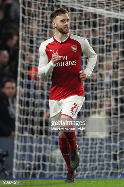 Calum Chambers of Arsenal in action during the Carabao Cup SemiFinal first leg match between Chelsea and Arsenal at Stamford Bridge on January 10...