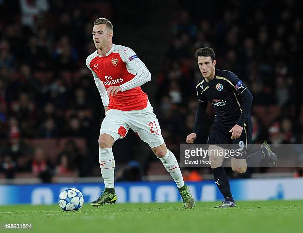 Calum Chambers of Arsenal is closed down by Angelo Henriquez of Zagreb during the match between Arsenal and Dinamo Zagreb in the UEFA Champions...