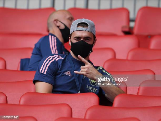 Calum Chambers of Arsenal poses for a photo from the stands before the FA Cup Final match between Arsenal and Chelsea at Wembley Stadium on August 01...