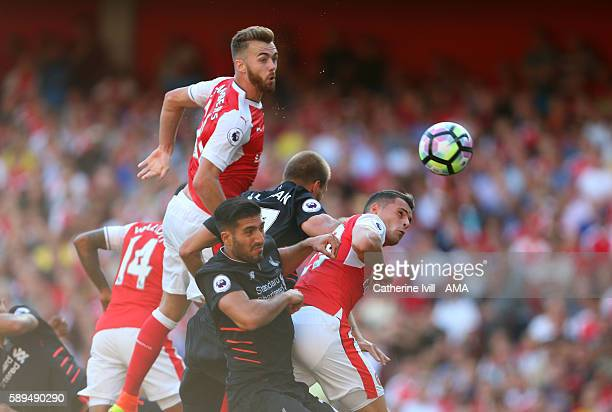 Calum Chambers of Arsenal scores a goal to make it 3-4 during the Premier League match between Arsenal and Liverpool at Emirates Stadium on August...