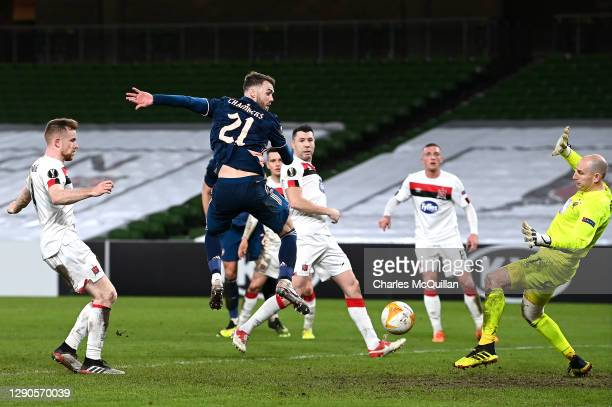 Calum Chambers of Arsenal scores a goal which is later ruled offside during the UEFA Europa League Group B stage match between Dundalk FC and Arsenal...
