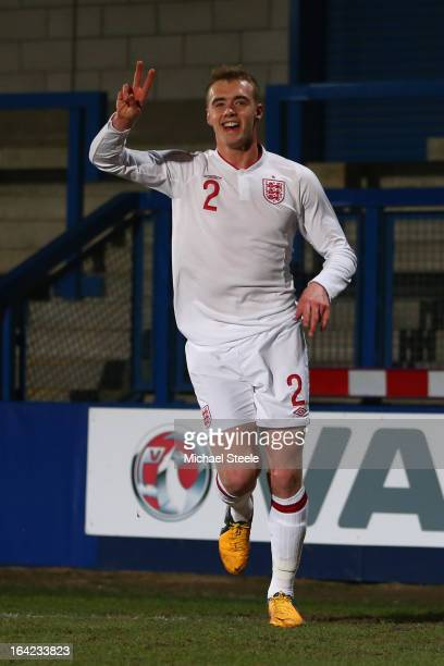 Calum Chambers of England celebrates scoring the opening goal during the England U19's versus Turkey U19's International match at New Bucks Head...