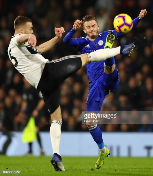 Calum Chambers of Fulham battles for possession with James Maddison of Leicester City during the Premier League match between Fulham FC and Leicester...