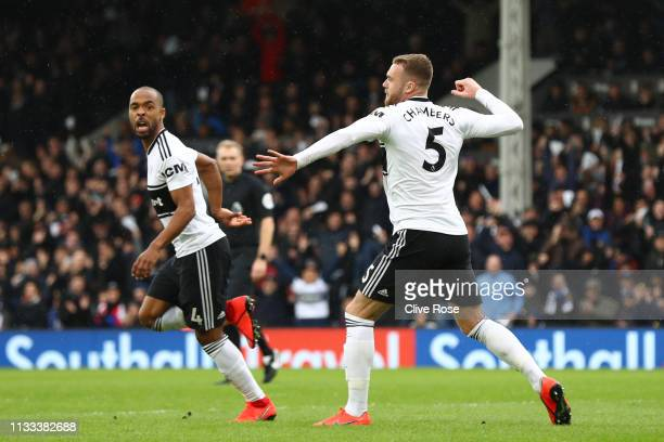 Calum Chambers of Fulham celebrtes after he scores his sides first goal during the Premier League match between Fulham FC and Chelsea FC at Craven...