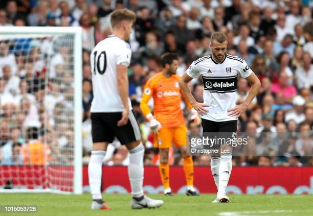 Calum Chambers of Fulham looks dejected after conceding during the Premier League match between Fulham FC and Crystal Palace at Craven Cottage on...