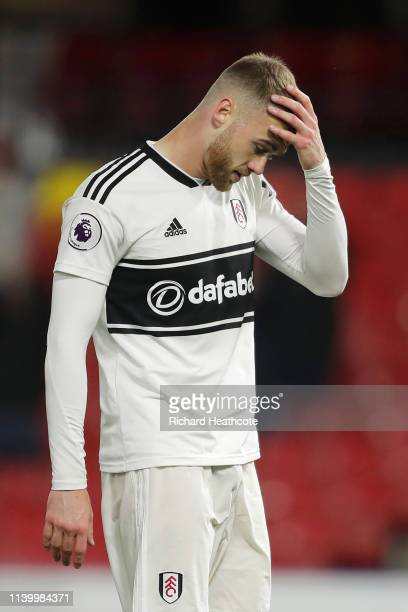 Calum Chambers of Fulham looks dejected as his team are relegated due to the result in the Premier League match between Watford FC and Fulham FC at...