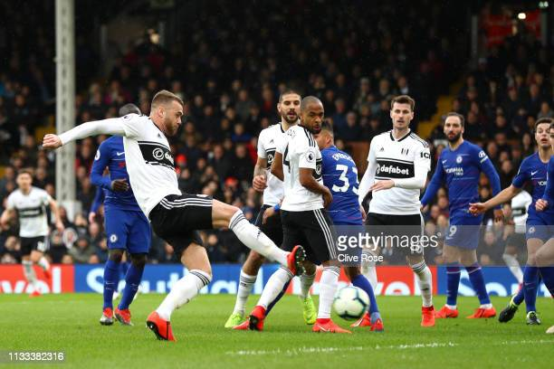 Calum Chambers of Fulham scores his sides first goal during the Premier League match between Fulham FC and Chelsea FC at Craven Cottage on March 03,...