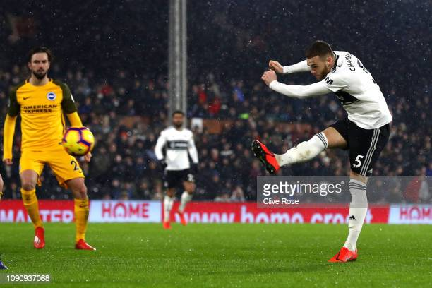 Calum Chambers of Fulham scores his team's first goal during the Premier League match between Fulham and Brighton Hove Albion at Craven Cottage on...