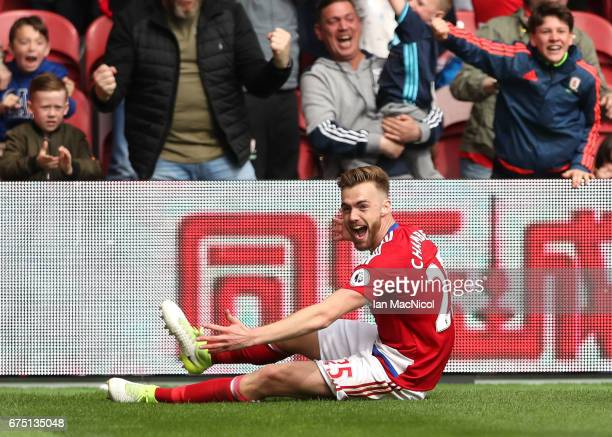 Calum Chambers of Middlesbrough celebrates scoring his sides second goal during the Premier League match between Middlesbrough and Manchester City at...