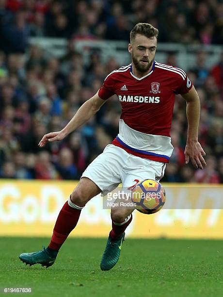 Calum Chambers of Middlesbrough during the Premier League match between Middlesbrough and AFC Bournemouth at Riverside Stadium on October 29 2016 in...