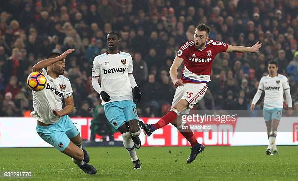 Calum Chambers of Middlesbrough shoots during the Premier League match between Middlesbrough and West Ham United at the Riverside Stadium on January...
