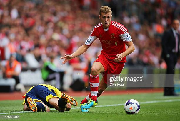 Calum Chambers of Southampton wins the ball during the Barclays Premier League match between Southampton and Sunderland at St Mary's Stadium on...