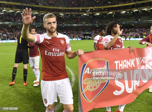 Calum Chambers waves to the Arsenal fans after the Preseason friendly between Arsenal and Chelsea on August 1 2018 in Dublin Ireland