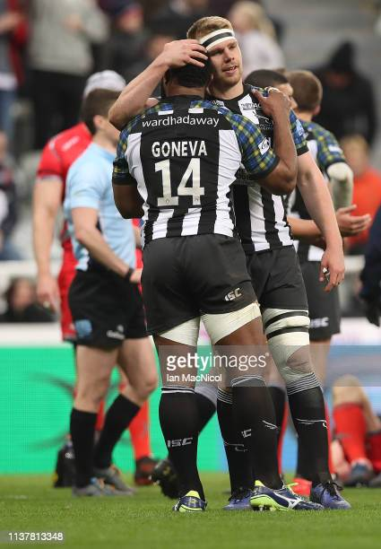 Calum Chick and Verenki Goneva of Newcastle United are seen at full time during the Gallagher Premiership Rugby match between Newcastle Falcons and...