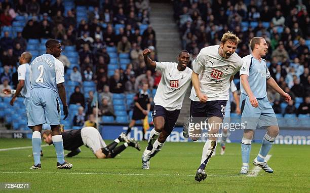 Calum Davenport of Tottenham celebrates after scoring the opening goal during the Barclays Premiership match between Manchester City and Tottenham...