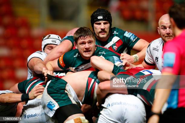 Calum Green and Harry Wells of Leicester Tigers look on from a maul during the Gallagher Premiership Rugby match between Leicester Tigers and...