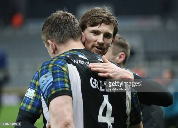 Calum Green and Simon Hammersley of Newcastle United are seen at full time during the Gallagher Premiership Rugby match between Newcastle Falcons and...