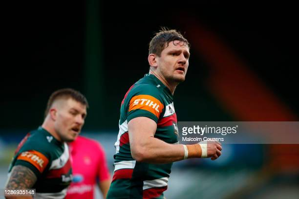 Calum Green of Leicester Tigers looks on during the Gallagher Premiership Rugby match between Leicester Tigers and Gloucester at Welford Road on...