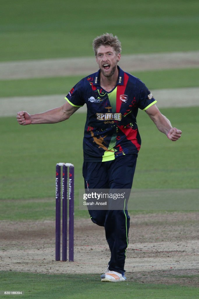 Calum Haggett of Kent Spitfires celebrates after taking the wicket of Surrey's Jason Roy during the NatWest T20 Blast South Group match between Kent Spitfires and Surrey at The Spitfire Ground on August 18, 2017 in Canterbury, England. (Photo by Sarah Ansell/Getty Images).