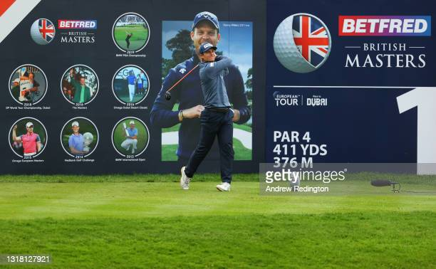 Calum Hill of Scotland tees off on the first hole during the Final Round of The Betfred British Masters hosted by Danny Willett at The Belfry on May...