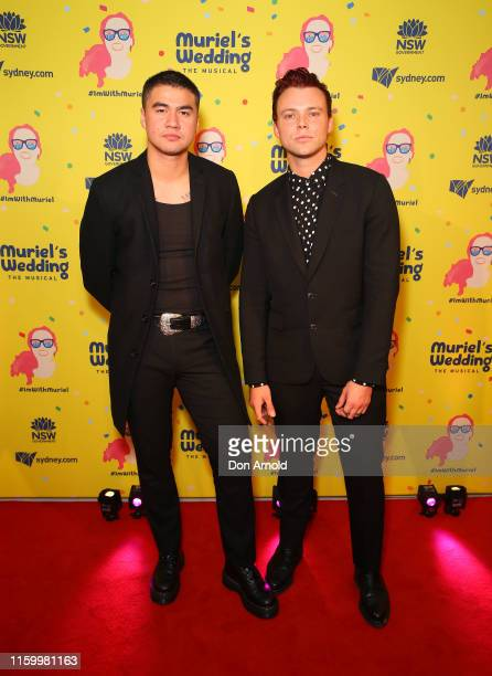 Calum Hood and Ashton Irwin, from rock band 5SOS, attend opening night of Muriel's Wedding The Musical at Lyric Theatre, Star City on July 04, 2019...