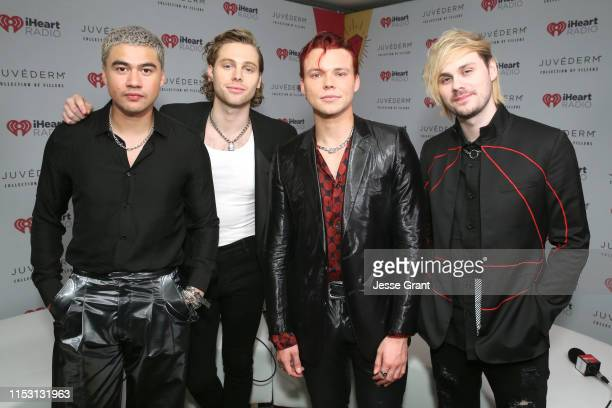 Calum Hood Luke Hemmings Ashton Irwin and Michael Clifford of music group 5 Seconds of Summer attend 2019 iHeartRadio Wango Tango presented by The...