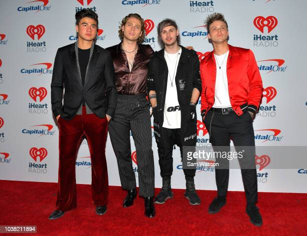 Calum Hood Luke Hemmings Michael Clifford and Ashton Irwin of 5 Seconds of Summer attend the iHeartRadio Music Festival at TMobile Arena on September...