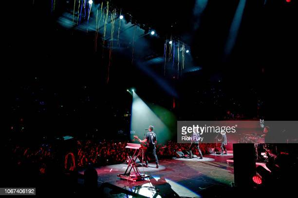 Calum Hood Luke Hemmings Michael Clifford and Ashton Irwin of 5 Seconds of Summer perform onstage during WiLD 949's FM's Jingle Ball 2018 Presented...