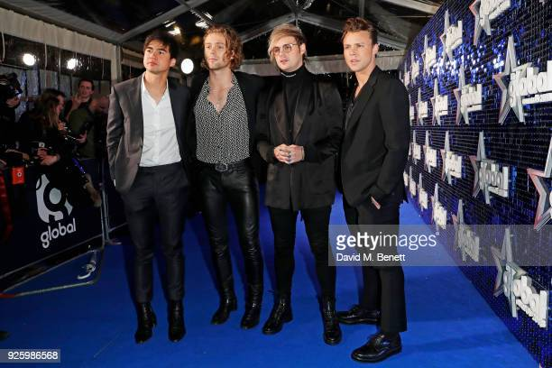 Calum Hood Luke Hemmings Michael Clifford and Ashton Irwin of 5 Seconds Of Summer attend The Global Awards 2018 at Eventim Apollo Hammersmith on...