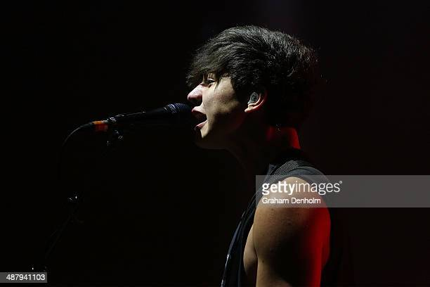 Calum Hood of 5 Seconds of Summer performs on stage at the Palais Theatre on May 3 2014 in Melbourne Australia