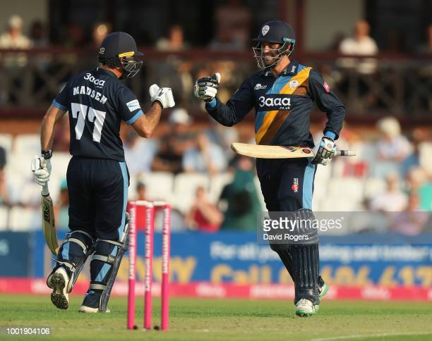 Alex Wakely of Northamptonshire is bowled by Alex Hughes during the Vitality Blast match between Northamptonshire Steelbacks and Derbyshire Falcons...