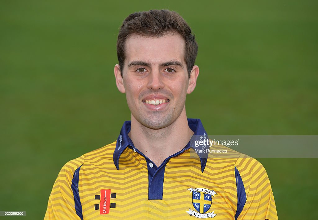 Calum MacLeod of Durham poses for a photograph in the One Day kit during the Durham County Cricket Club photocall at the Riverside on April 8, 2016 in Chester-Le-Street, England. (Photo by Mark Runnacles/Getty Images) Calum MacLeod