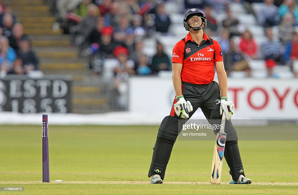 Calum MacLeod of Durham tries a reverse sweep and drags the ball on to his stumps during the NatWest T20 Blast match between Durham Jets and Worcestershire Rapids at The Emirates Durham ICG on June 12, 2015 in Chester Le Street, England.