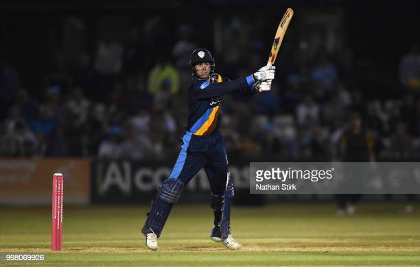 Calum MacLoed of Derbyshire batting during the Vitality Blast match between Derbyshire Falcons and Notts Outlaws at The 3aaa County Ground on July 13...