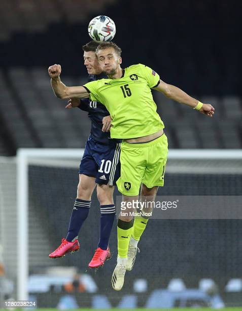 Calum McGregor of Scotand vies with Tomas Soucek of Czech Republic during the UEFA Nations League group stage match between Scotland and Czech...