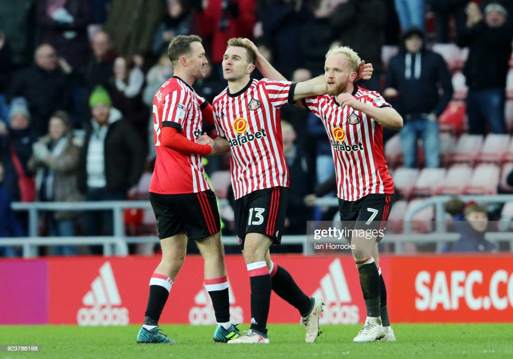 Calum McManaman (C) celebrates scoring the third goal for Sunderland in injury time during the Sky Bet Championship match between Sunderland and Middlesbrough at Stadium of Light on February 24, 2018 in Sunderland, England.