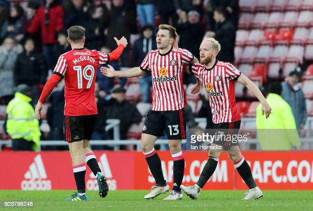 Calum McManaman celebrates scoring the third goal for Sunderland in injury time during the Sky Bet Championship match between Sunderland and...