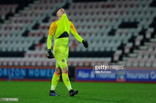 Calum Ward of AFC Bournemouth celebrates his team's first goal during the FA Youth Cup Fifth Round Match between AFC Bournemouth U18 and Aston Villa...