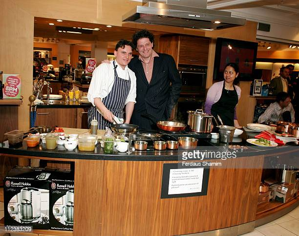 Calum Watson and Marco Pierre White during Marco Pierre White Launches The White Heat Cookery Collection London Photocall at Harrods in London Great...