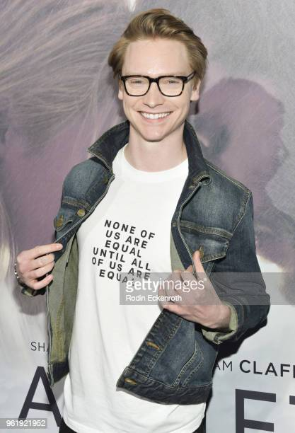 Calum Worthy arrives at the premiere of STX Films' Adrift at Regal LA Live Stadium 14 on May 23 2018 in Los Angeles California
