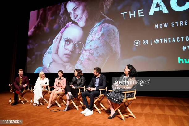 Calum Worthy Patricia Arquette Joey King Michelle Dean Nick Antosca and Jenelle Riley speak onstage during Hulu's The Act FYC event at Linwood Dunn...