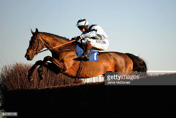Calusa Crystal ridden by Richard Johnson jumps the ditch during the Mares Novices Steeple Chase run at Huntingdon Racecourse on December 10 2009 in...