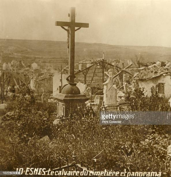 Calvary at the cemetery of Esnes northern France circa 1914circa 1918 Photograph from a series of glass plate stereoview images depicting scenes from...