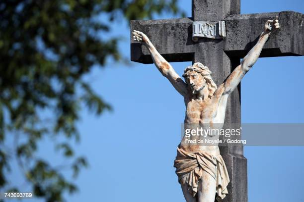 calvary. jesus on the cross.  france. - stations of the cross stock pictures, royalty-free photos & images