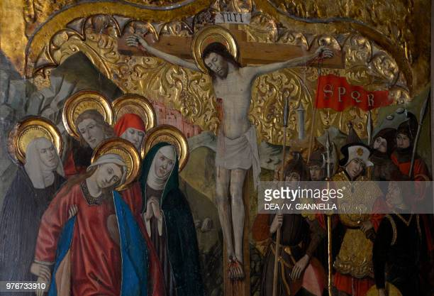 Calvary or Crucifixion painting museum of the cathedral of Saint Mary Girona Spain 15th century Detail