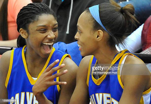 Calvert's Jasmine Weems and Tiara Lester celebrated the victory over Century in the closing minutes of the Maryland 2A championship game at UMBC on...