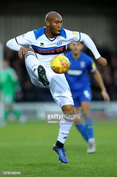 Calvin Andrew of Rochdale controls the ball during the Sky Bet League One match between AFC Wimbledon and Rochdale at The Cherry Red Records Stadium...