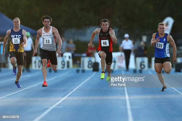 Calvin Borowski Aaron Bresland Jack Hale and Trae Williams compete in the men's 100 metre during the Jandakot Airport Perth Track Classic at WA...