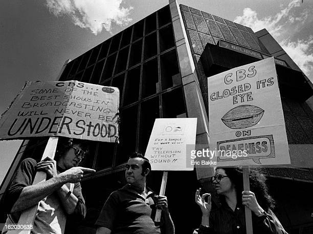 MAY 19 1981 MAY 20 1982 Calvin Brewafr Thornton Don Sprouse Denver and Cecile Rhynard Denver all hearing impaired protested outside KMGHTV studios...