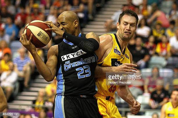 Calvin Bruton of the Breakeers gathers a rebound during the round nine NBL match between the Melbourne Tigers and the New Zealand Breakers at State...